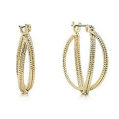 Mood - Gold textured hoop crossover earring