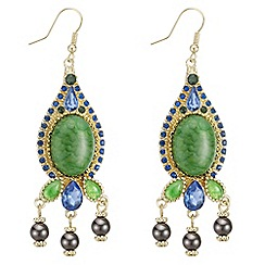 Mood - Green stone droplet chandelier earring