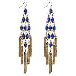 Mood - Oversized blue tassel drop chandelier earrings