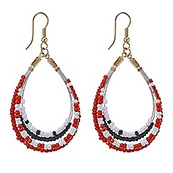 Mood - Threaded bead front facing hoop earring