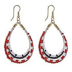 Mood - Threaded bead front facing hoop earring