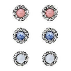 Mood - Crystal surround stone stud earring set