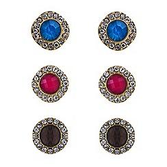 Mood - Crystal embellished multi pack stud earrings