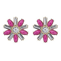 Mood - Pink crystal flower stud earring