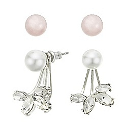 Mood - Pearl and crystal front and back pack of two earring