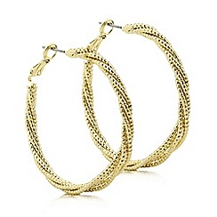 Mood - Gold textured rope hoop earring