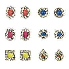 Mood - Multicolour pave stud set of six