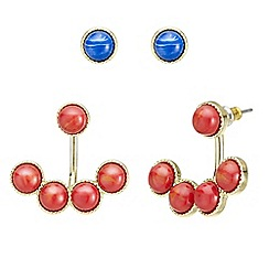 Mood - Marble stone front and back earring set