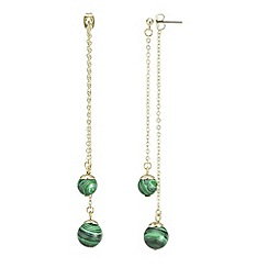 Mood - Green stone double drop chain earring