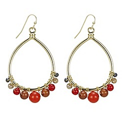 Mood - Beaded gold drop hoop earring
