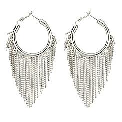 Mood - Silver fringed hoop earring