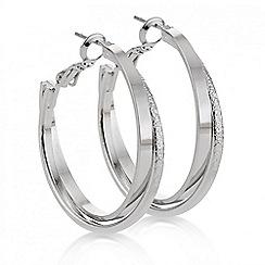 Mood - Silver textured twist hoop earring