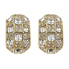 Mood - Square crystal gold half hoop earring