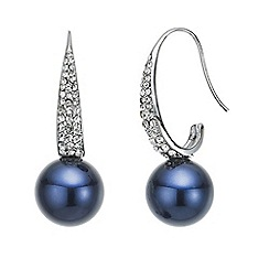 Mood - Crystal pave blue pearl drop earring