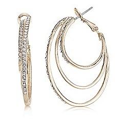 Mood - Rose gold diamante loop earring