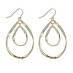 Mood - Gold double teardrop crystal earring