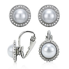 Mood - Pack of two pearl stud and cuff earring set