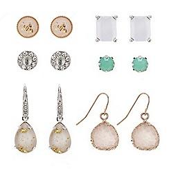 Mood - Pack of six multi crystal earrings