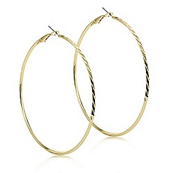 Mood - Gold textured large hoop earring