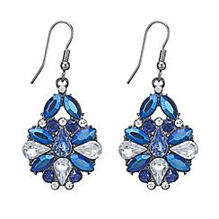 Mood - Metallic blue stone cluster drop earring
