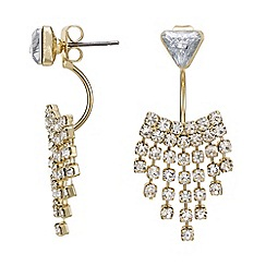 Mood - Gold crystal shower front and back earring