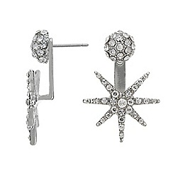 Mood - Silver crystal star front and back earring