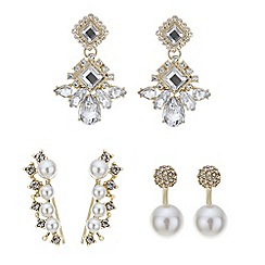 Mood - Gold crystal and pearl mixed earring pack