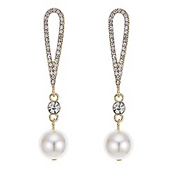 Mood - Gold crystal loop pearl earring
