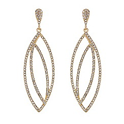 Mood - Gold crystal cut out navette drop earring