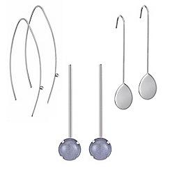 Mood - Set of three silver drop earring