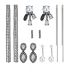 Mood - Silver crystal and pearl mixed earring pack