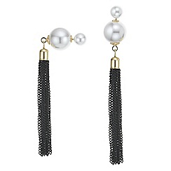 Mood - Pearl tassel front and back earring