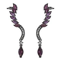 Mood - Purple navette drop cuff earring set