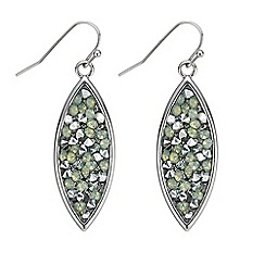 Mood - Green crystal cluster stone navette drop earring