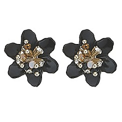 Mood - Black crystal 3d flower stud earring
