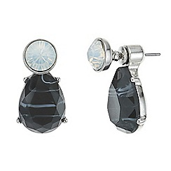 Mood - Black stone and crystal front and back earring