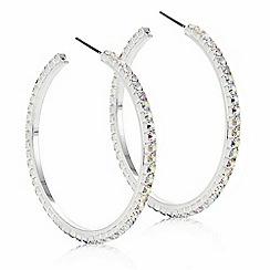 Mood - Silver aurora borealis crystal hoop earring