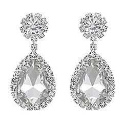 Mood - Silver crystal teardrop earrings