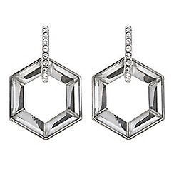 Mood - Silver crystal hexagon earring