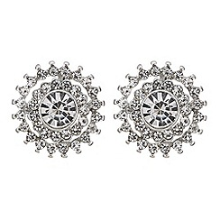 Mood - Silver crystal flower burst stud earring