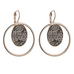 Mood - Rose gold grey druzy stone hoop earring