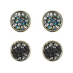 Mood - Crystal cluster gold round stud earring set