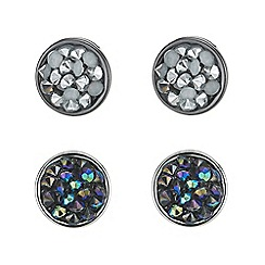 Mood - Crystal cluster silver round stud earring set