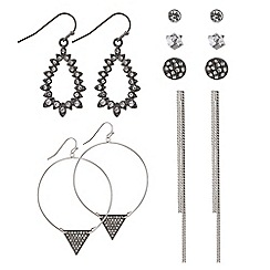 Mood - Grey crystal silver mixed earring pack