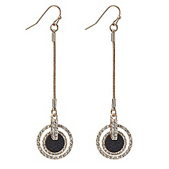Mood - Rose gold black glitter drop circle earring