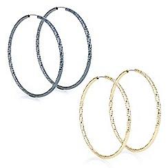 Mood - Multi tone textured hoop earring set