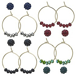 Mood - Pave ball and beaded hoop earring set