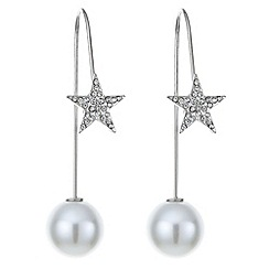 Mood - Pave star and pearl thread through earring