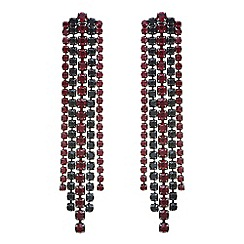 Mood - Black and red tonal diamante drop earring