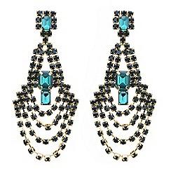 Mood - Green crystal diamante loop chandelier earring